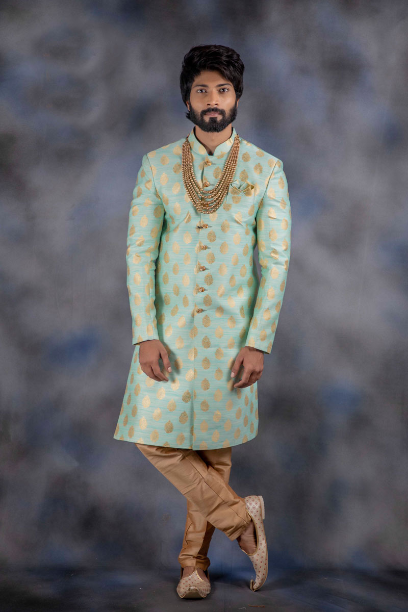 Eid Special Jacquard Fabric Light Cyan Color Function Wear Readymade Indowestern For Men