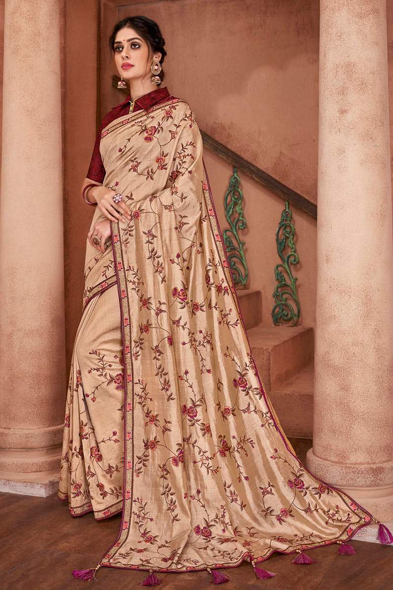 Chikoo Party Wear Border Work Saree In Art Silk With Designer Blouse