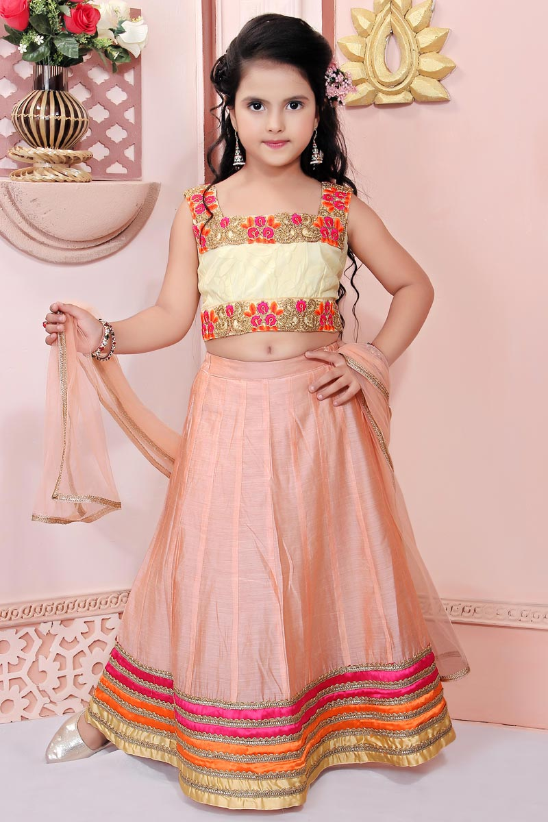 Peach Color Designer Function Wear Fancy Fabric Lehenga For Girls