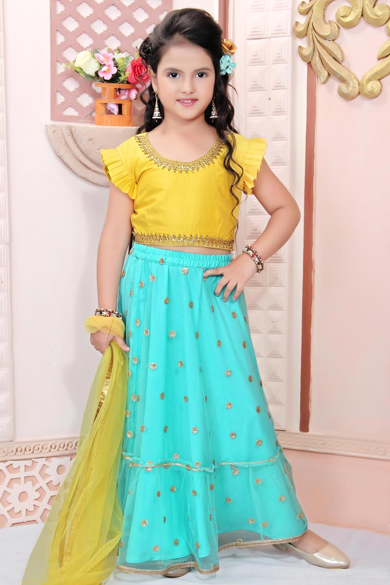 Girls Wear Party Style Cyan Lehenga In Fancy Fabric