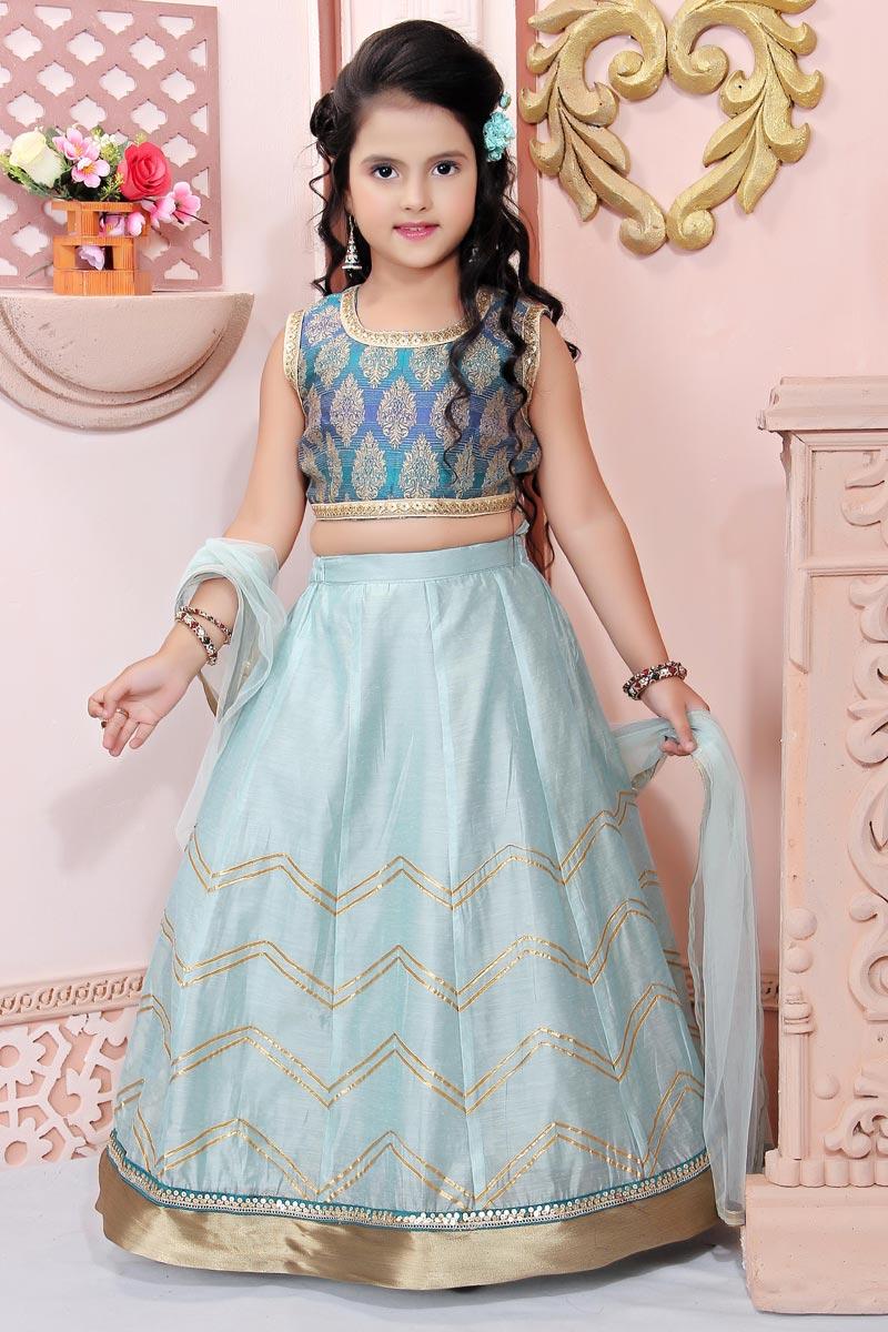 Function Wear Sky Blue Fancy Fabric Lehenga Choli For Girls