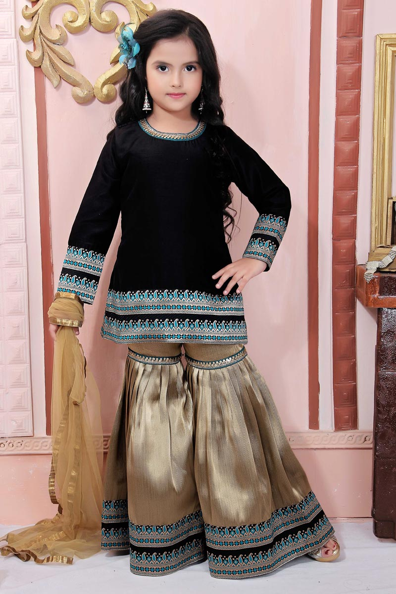 Eid Special Designer Black Fancy Fabric Sharara Suit For Girls