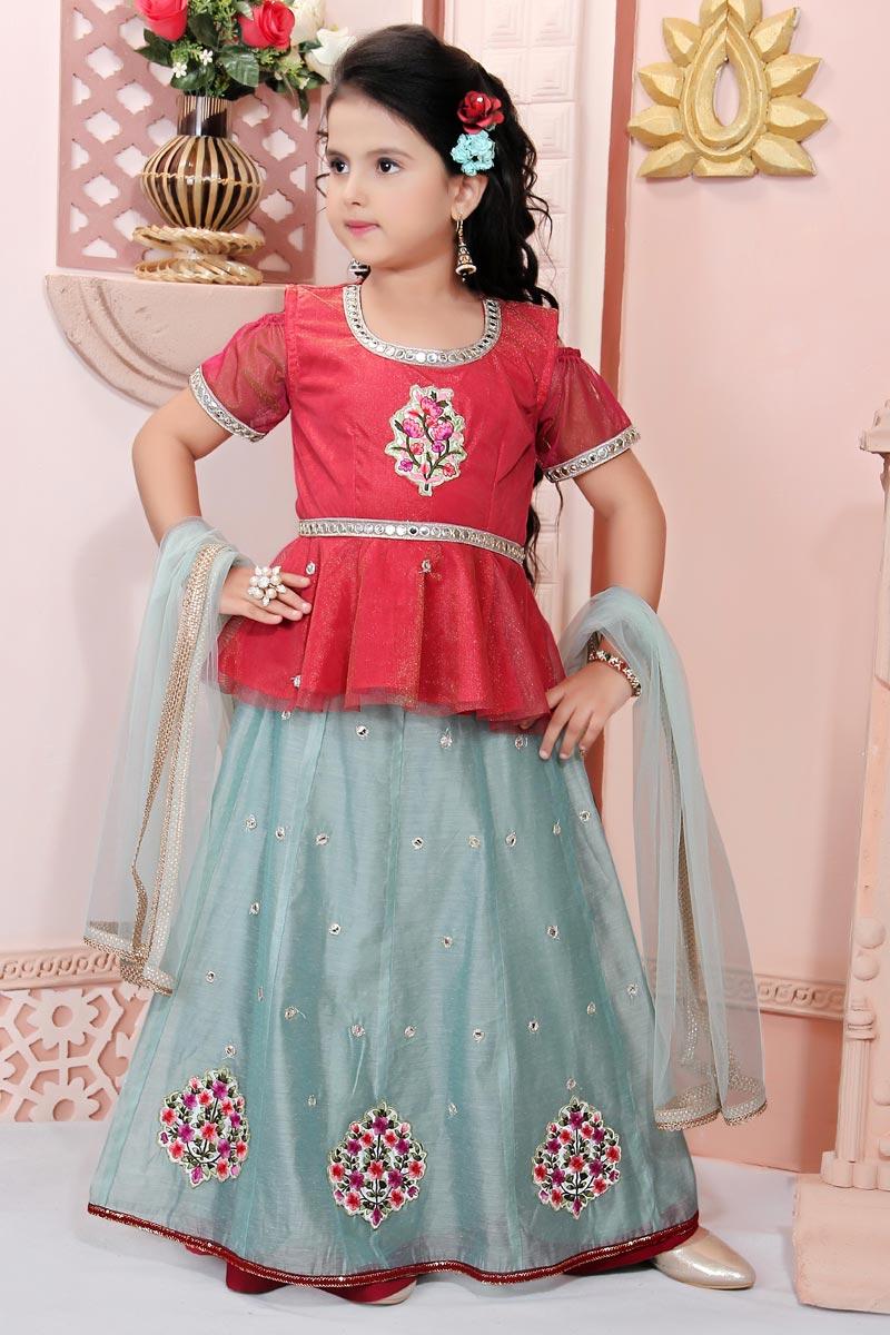 Traditional Wear Cyan Lehenga Choli For Girls In Fancy Fabric
