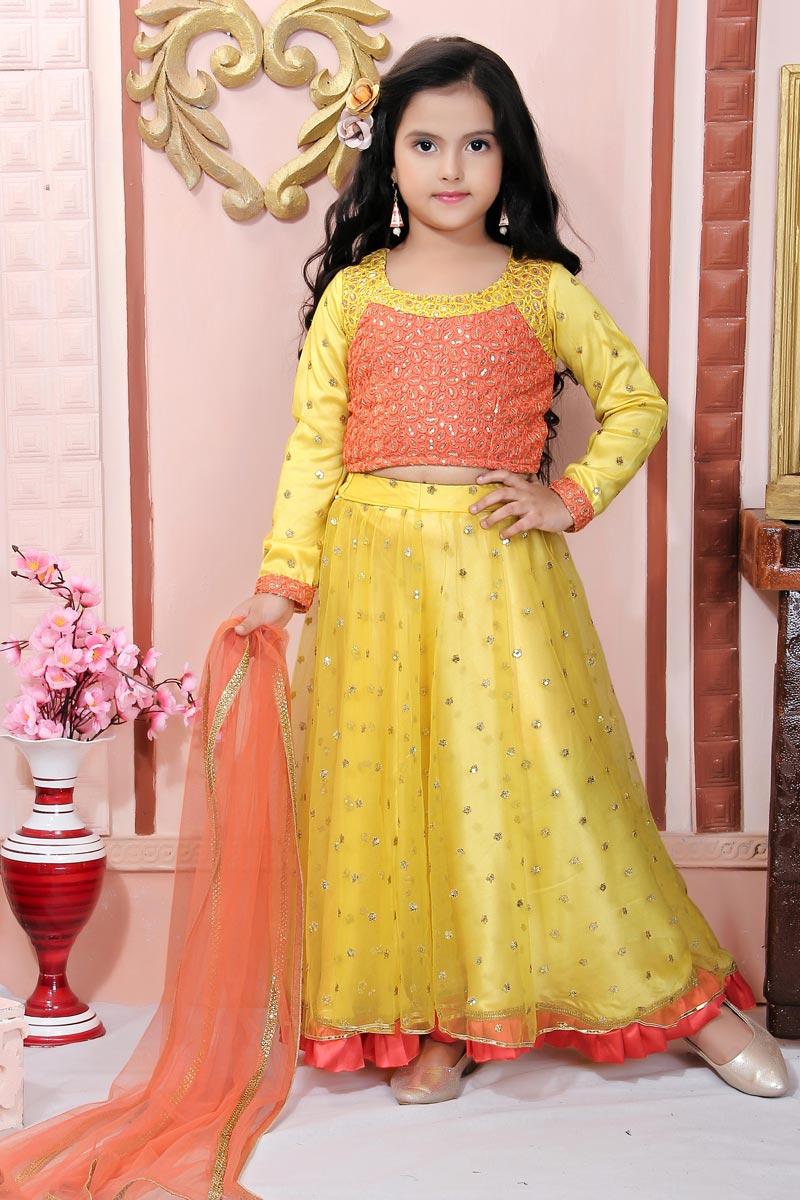 Yellow Color Fancy Fabric Lehenga Choli For Girls