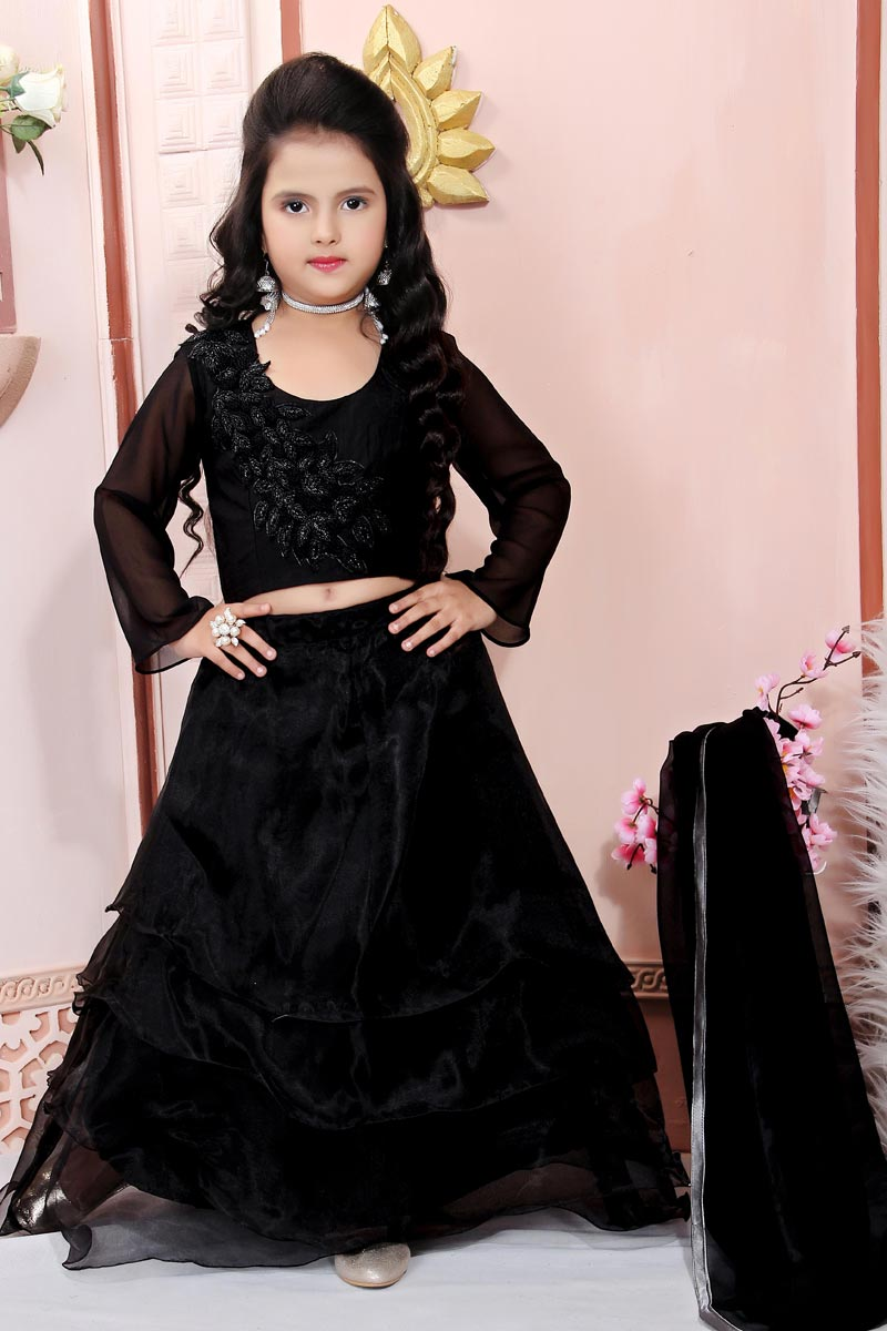 Party Style Designer Black Lehenga Choli For Girls In Fancy Fabric