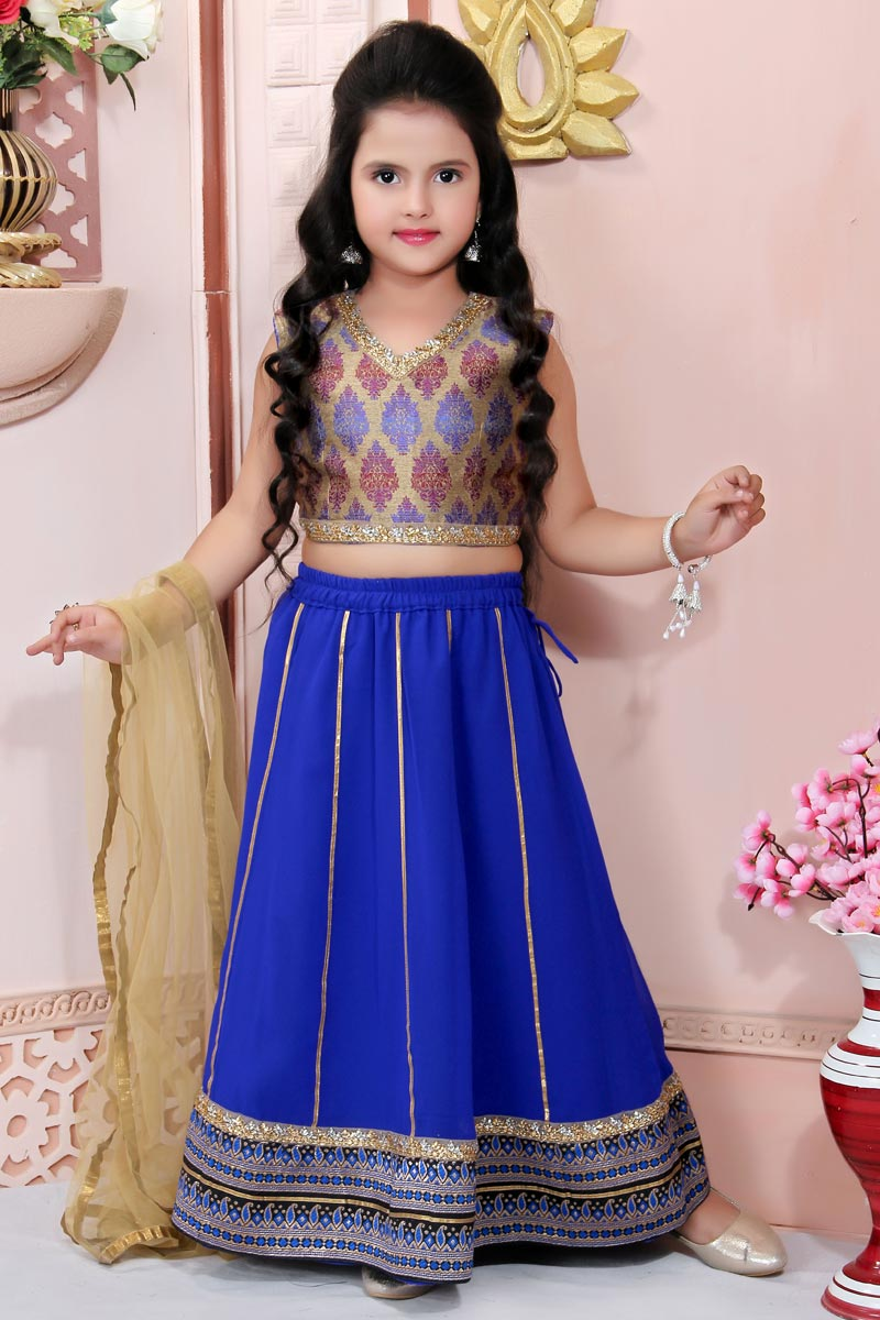 Blue Fancy Fabric Traditional Wear Lehenga Choli For Girls