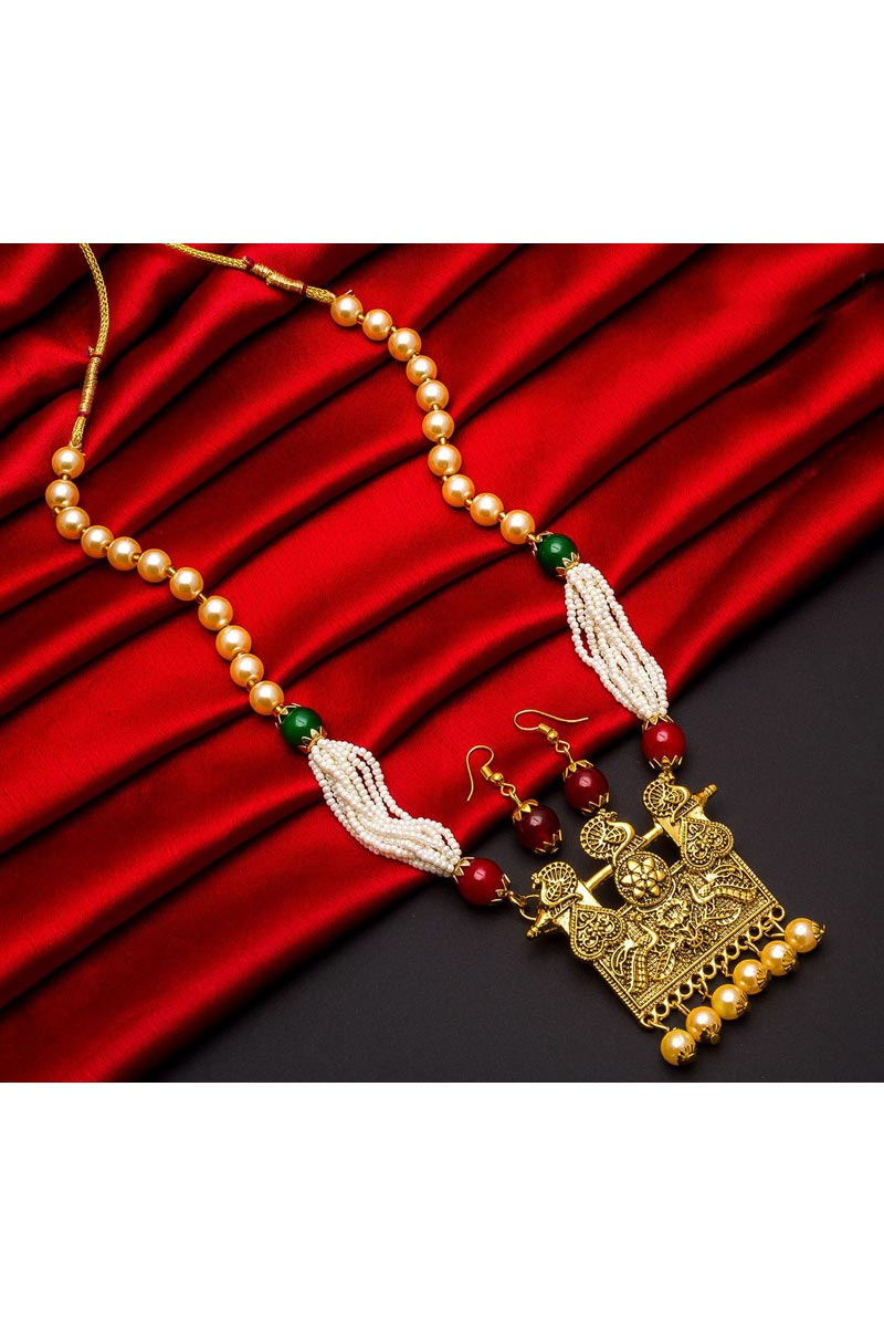 Alloy Metal Temple Wear Fancy Long Necklace Set With Pearl
