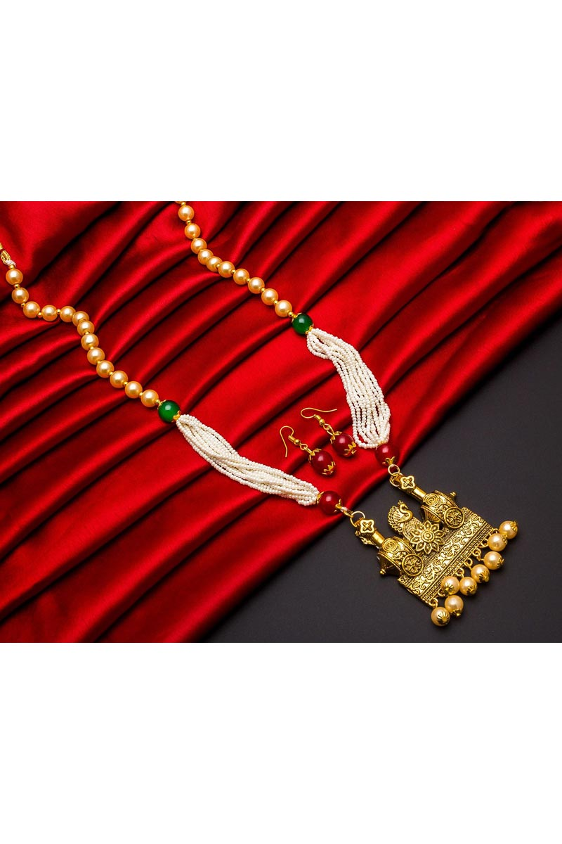 Puja Wear Fancy Alloy Metal Long Necklace Set With Pearl