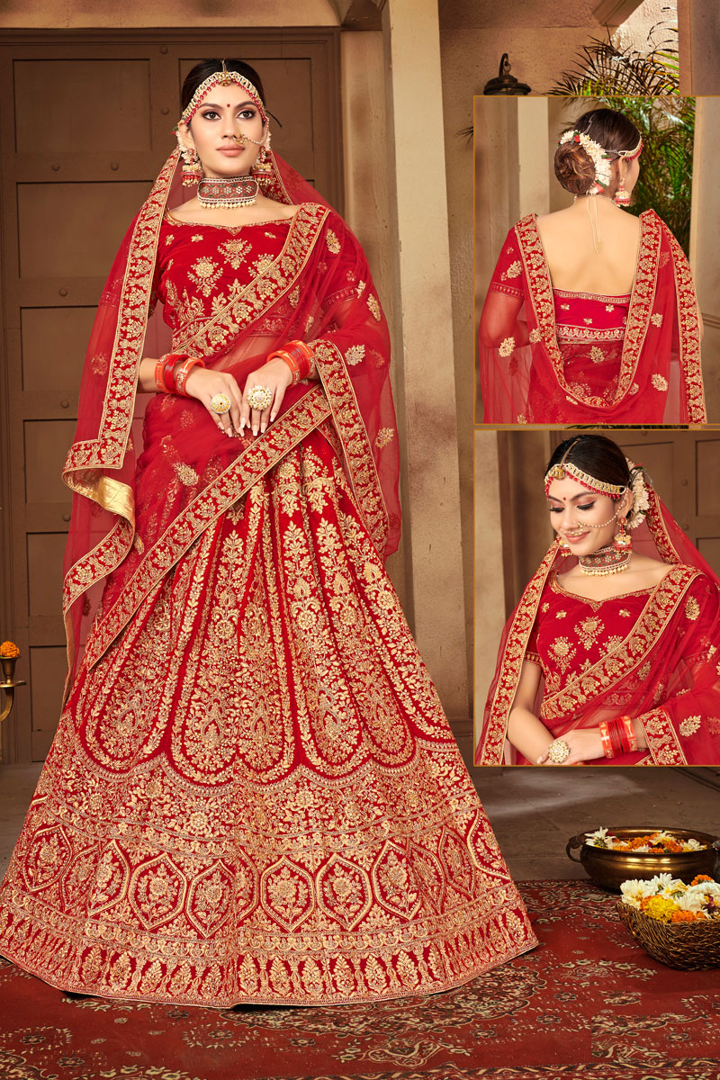 Red Color Sangeet Wear Lehenga With Embroidery Work In Velvet