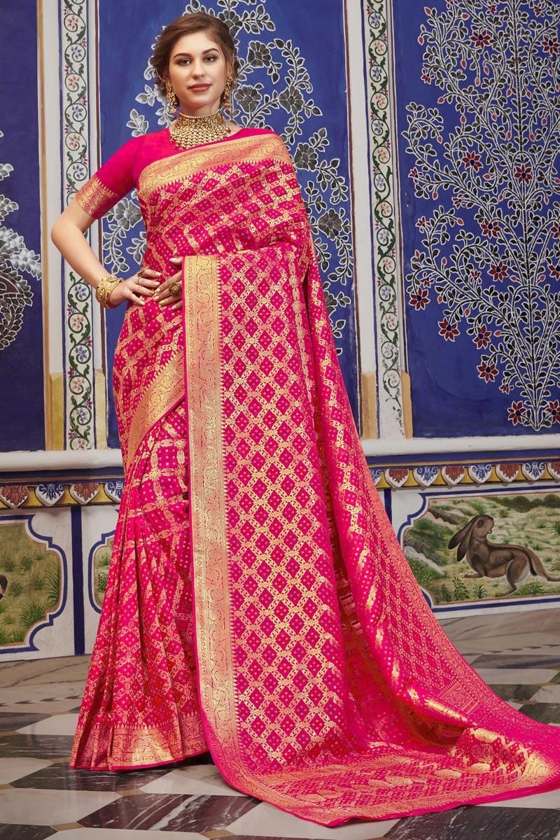 Rani Color Function Wear Elegant Art Silk Weaving Work Saree
