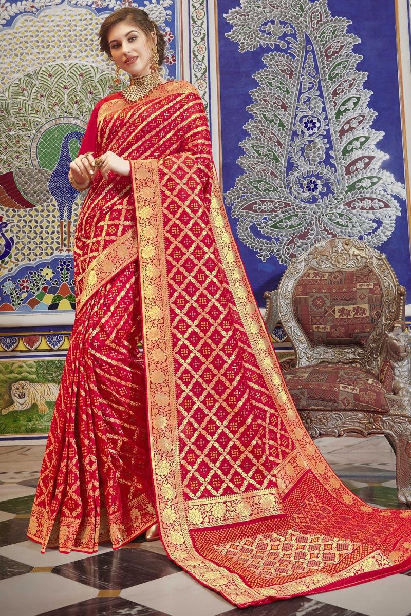 Weaving Work Art Silk Function Wear Elegant Saree In Red