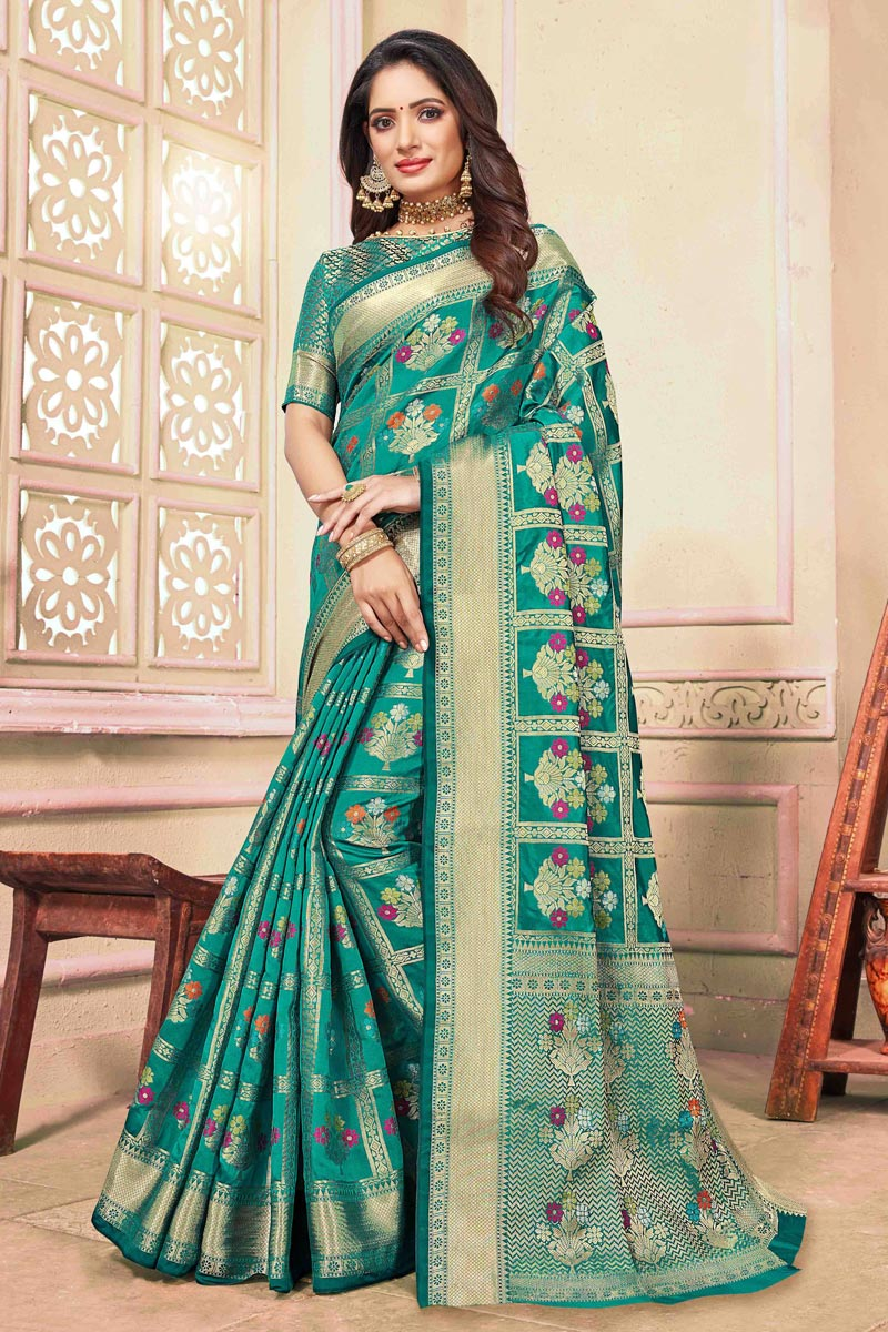 Weaving Work On Cyan Cotton Fabric Festive Wear Elegant Saree