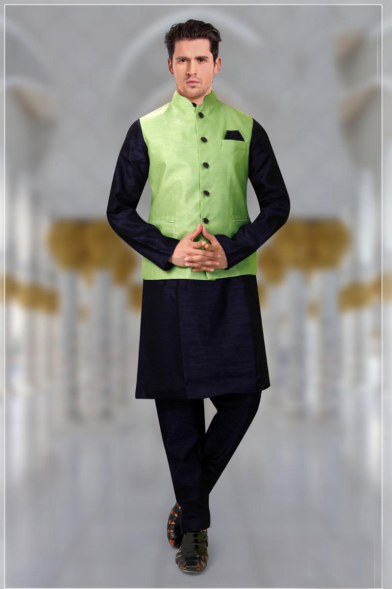 Navy Blue Color Designer Kurta Pyjama For Men With Modi Jacket