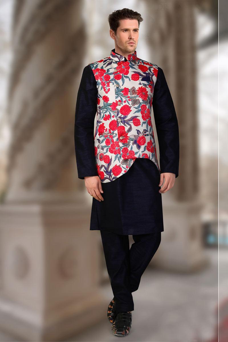 Navy Blue Color Designer Kurta Pyjama Set With Jacket For Men In Art Silk