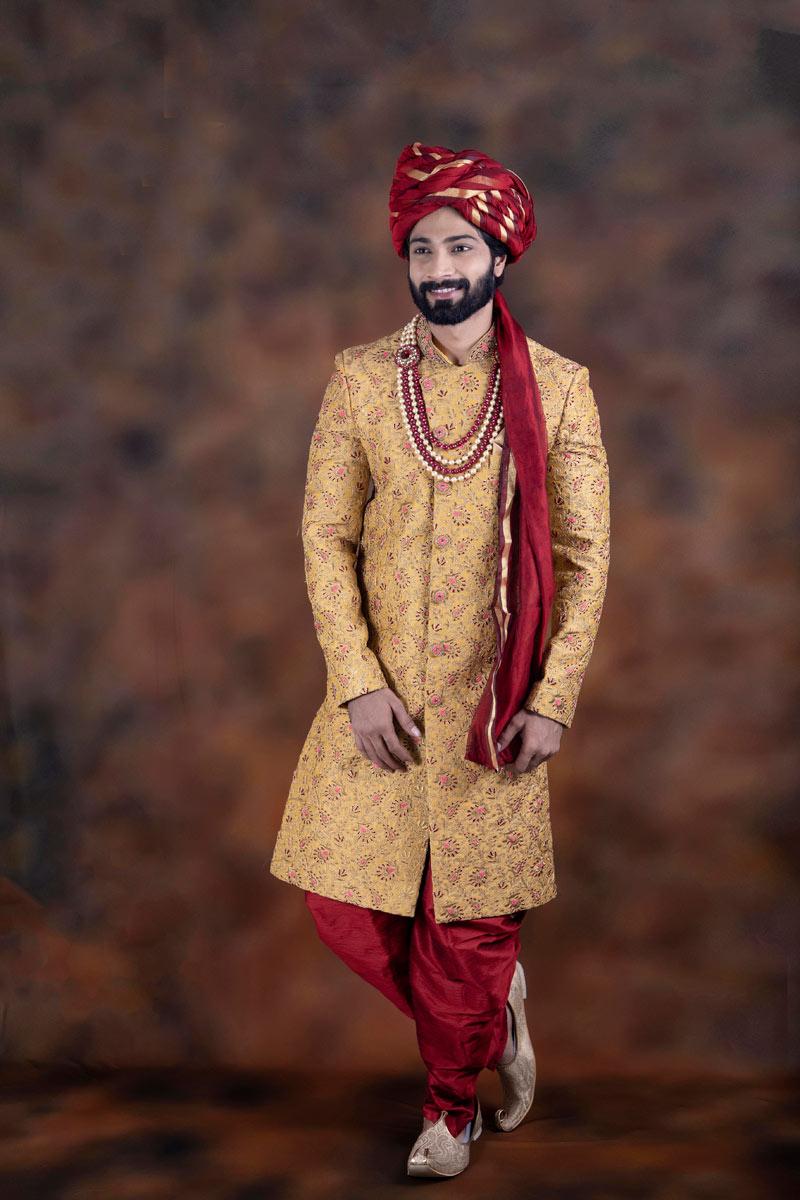 Cream Color Jacquard Fabric Function Wear Readymade Indowestern Groom Sherwani For Men