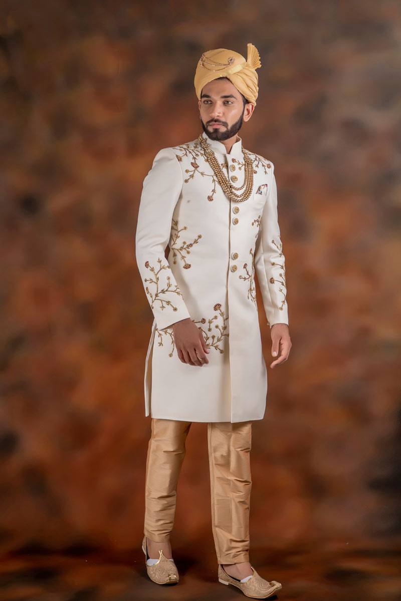 Off White Color Jacquard Fabric Function Wear Readymade Indowestern Groom Sherwani For Men
