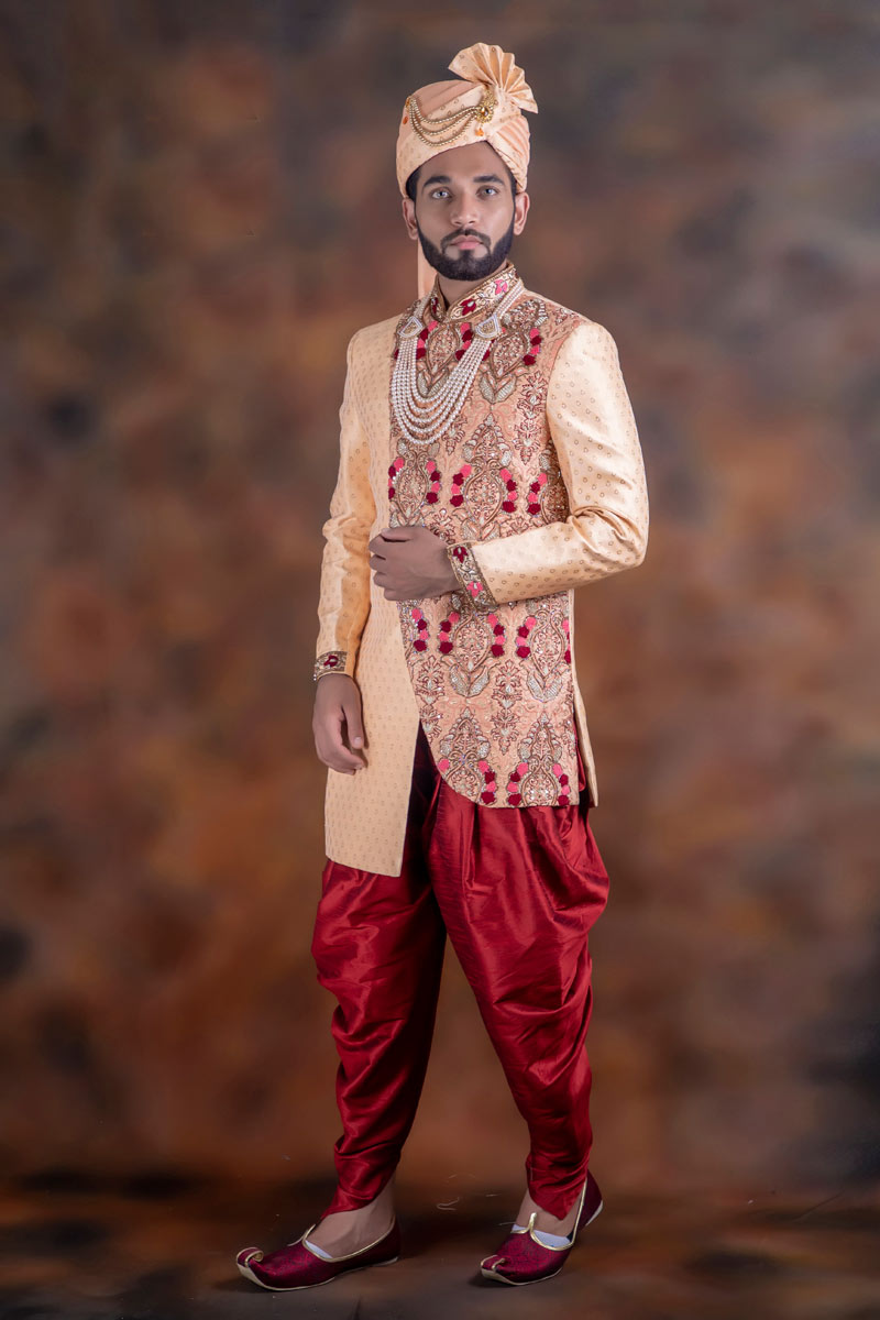 Jacquard Fabric Peach Color Function Wear Readymade Indowestern Groom Sherwani For Men