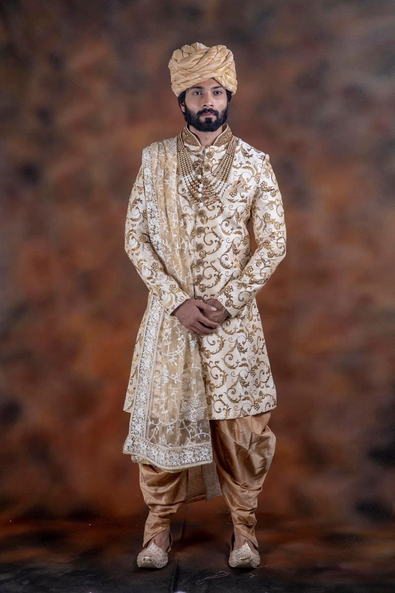 Groom Wear Beige Color Readymade Indowestern Designer Sherwani In Jacquard Fabric For Men