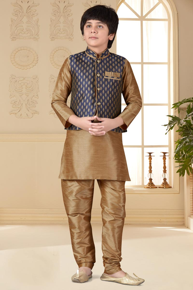 Eid Special Function Wear Art Silk Fabric Kurta Pyjama With Jacket For Boys In Chikoo Color