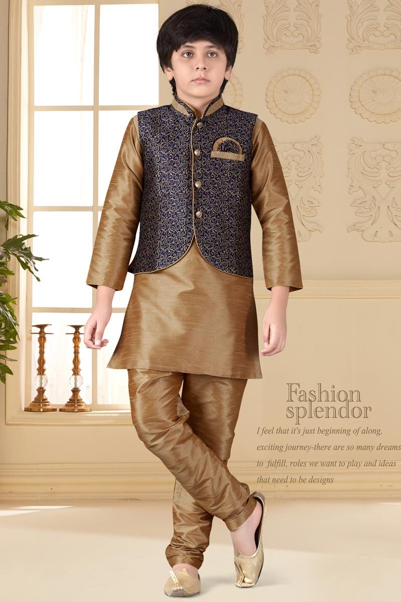 Eid Special Chikoo Color Function Wear Art Silk Fabric Kurta Pyjama With Jacket For Boys