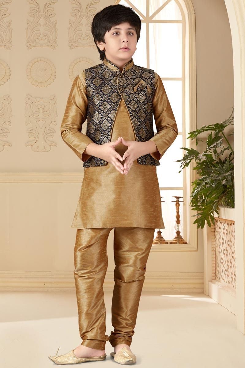 Eid Special Art Silk Fabric Chikoo Color Function Wear Boys Kurta Pyjama With Jacket