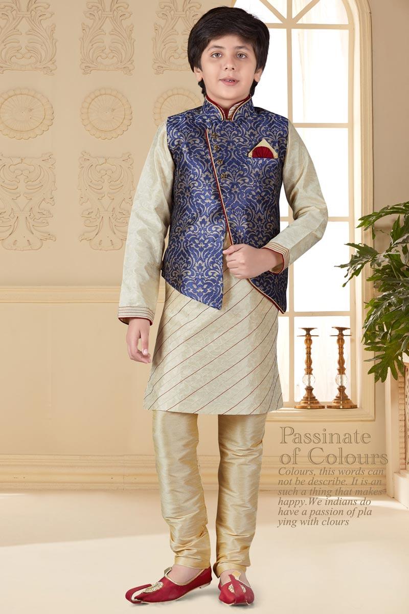 Function Wear Art Silk Fabric Beige Color Kurta Pyjama With Jacket For Boys
