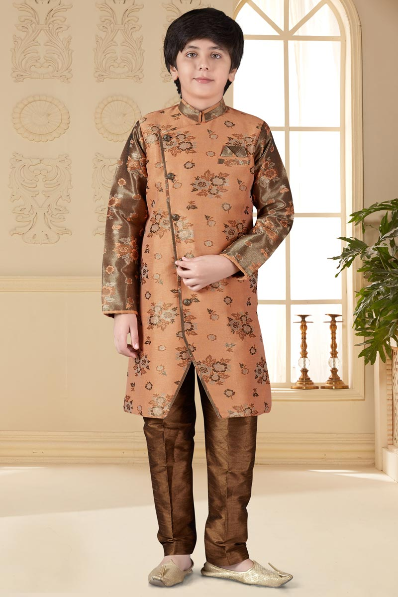 Function Wear Jacquard Fabric Indo Western For Boys In Peach Color