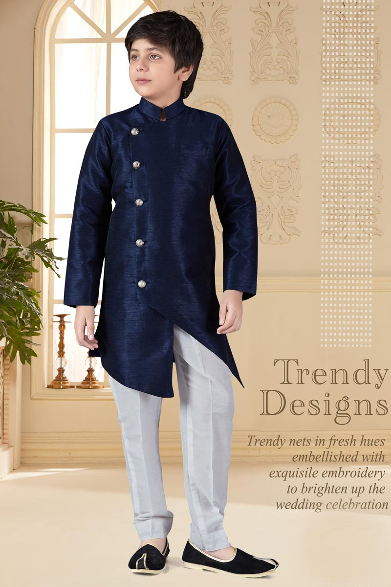 Navy Blue Color Function Wear Banglori Silk Fabric Indo Western For Boys