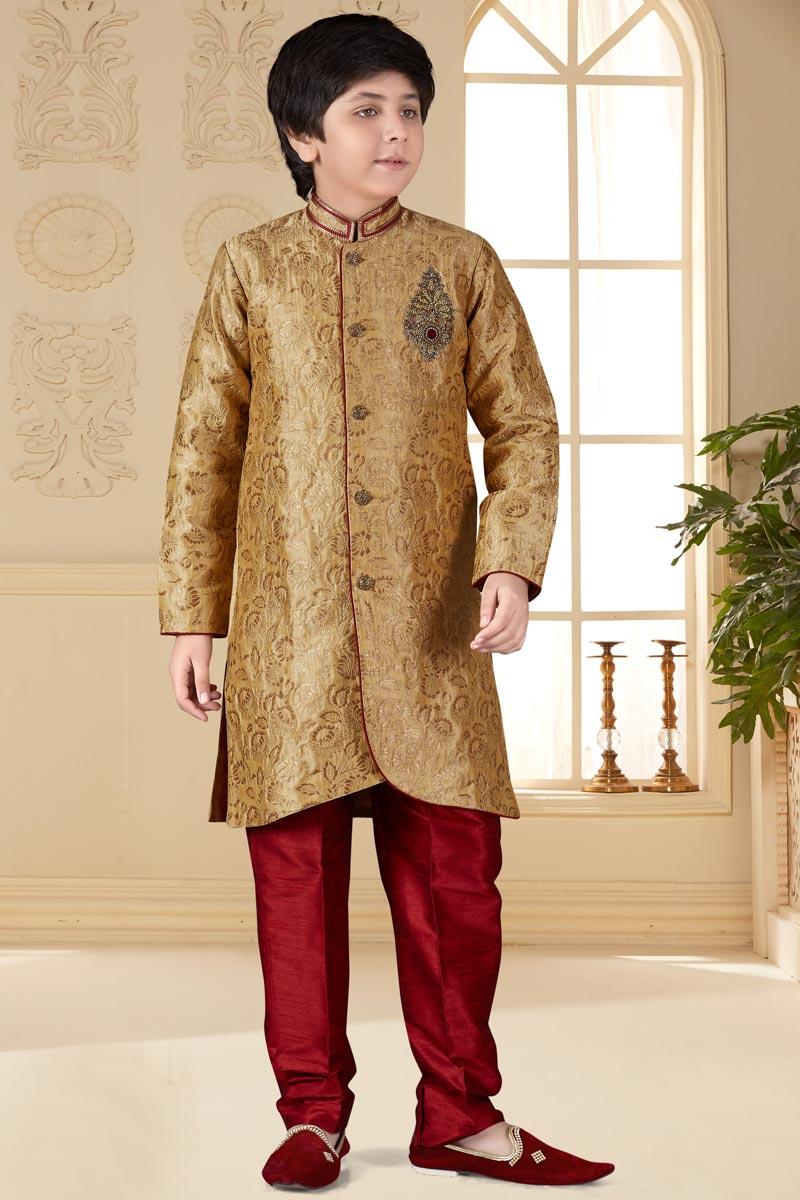 Eid Special Jacquard Fabric Fancy Golden Color Function Wear Boys Indo Western