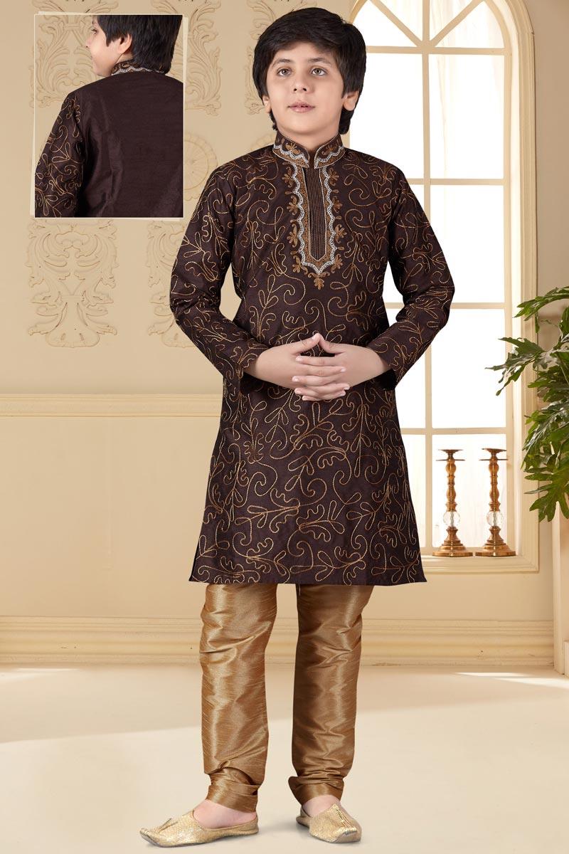 Eid Special Function Wear Brown Color Art Silk Fabric Boys Kurta Pyjama Set