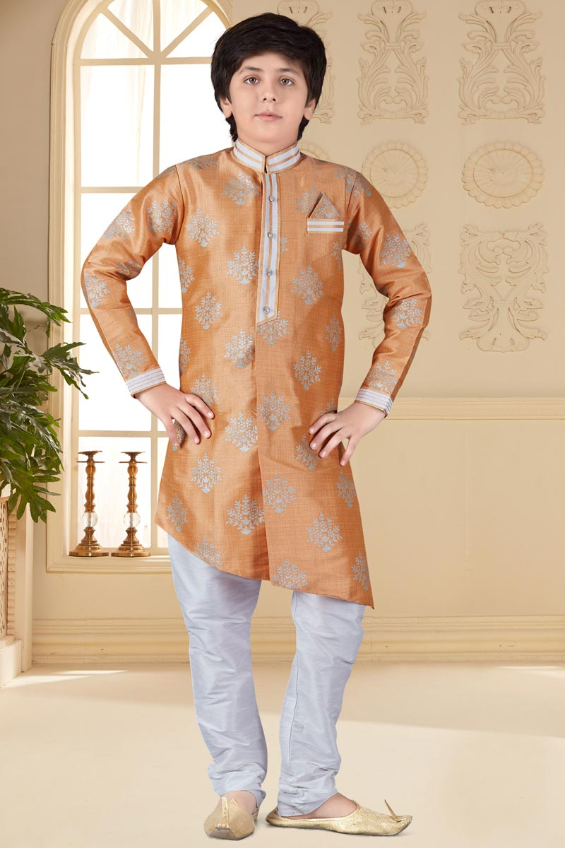 Sangeet Function Wear Jacquard Fabric Peach Color Indo Western For Boys