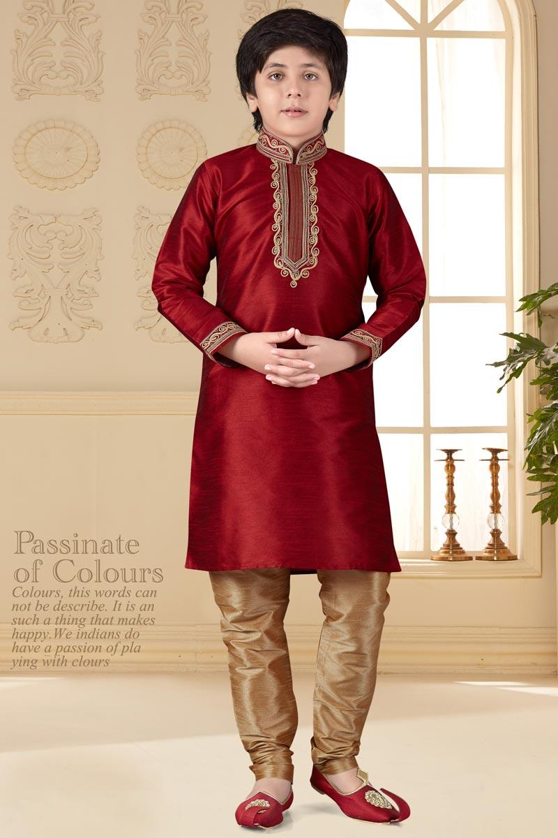 Sangeet Function Wear Art Silk Fabric Kurta Pyjama For Boys In Maroon Color