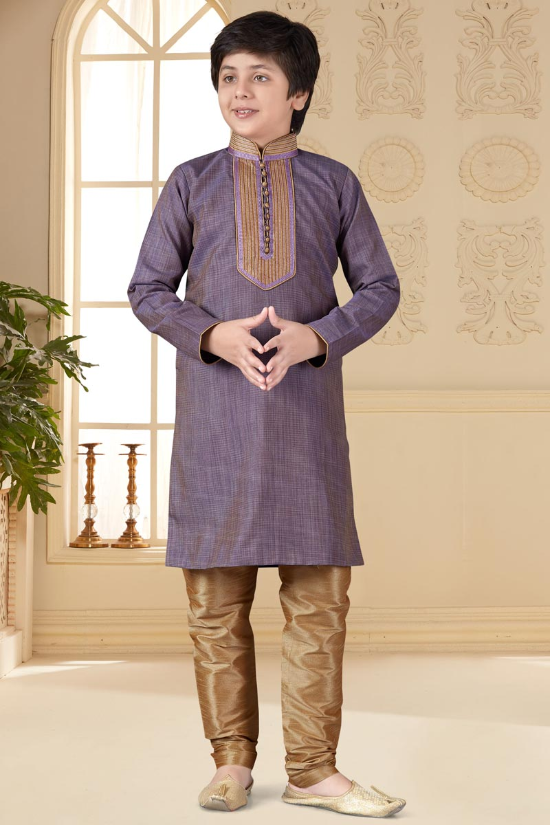 Sangeet Function Wear Kurta Pyjama For Boys In Lavender Color Jacquard Fabric