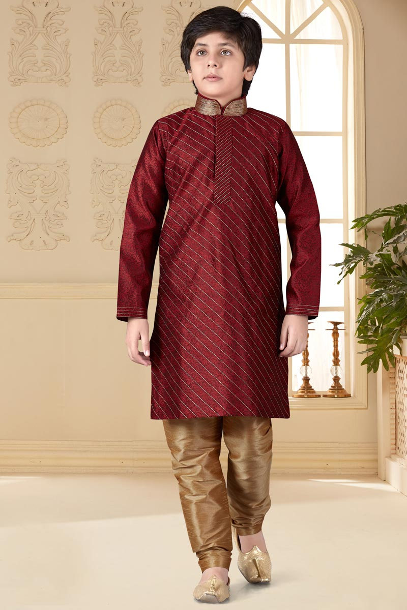 Jacquard Fabric Maroon Color Sangeet Function Wear Boys Kurta Pyjama Set