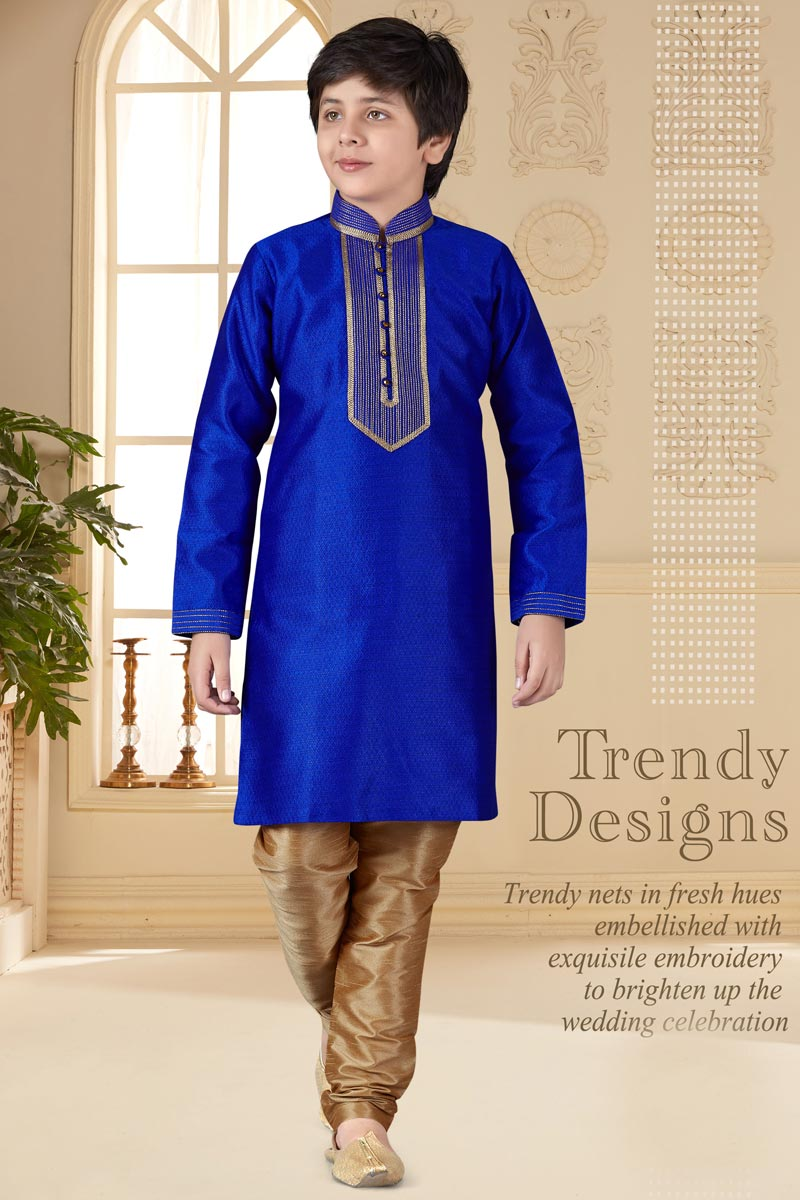 Eid Special Sangeet Function Wear Jacquard Fabric Blue Color Kurta Pyjama For Boys
