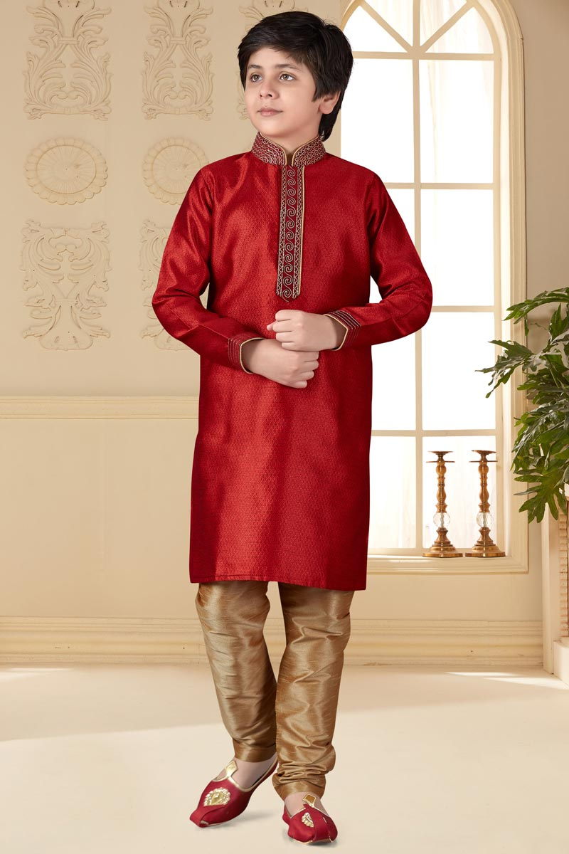 Sangeet Function Wear Maroon Color Jacquard Fabric Boys Kurta Pyjama Set
