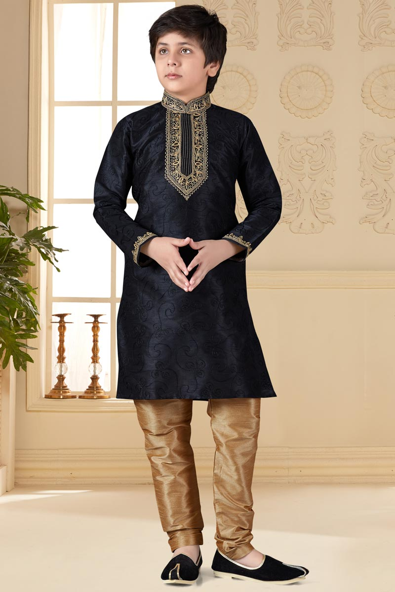 Black Color Sangeet Function Wear Art Silk Fabric Kurta Pyjama Set For Boys