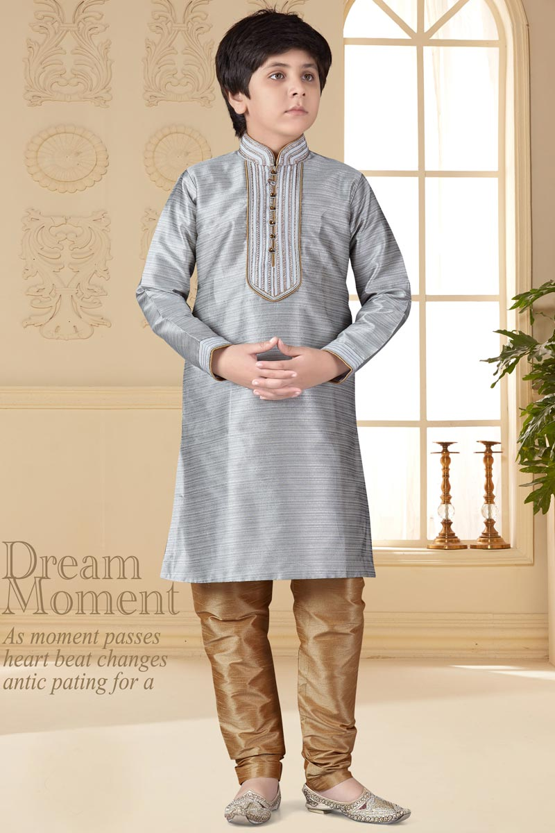 Sangeet Function Wear Grey Color Kurta Pyjama For Boys In Art Silk Fabric