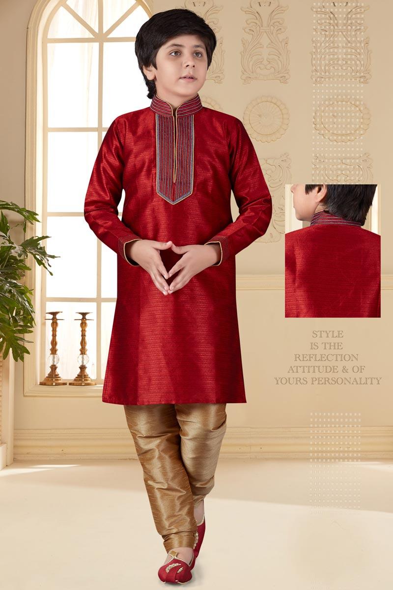 Eid Special Art Silk Fabric Sangeet Function Wear Maroon Color Kurta Pyjama Set For Boys
