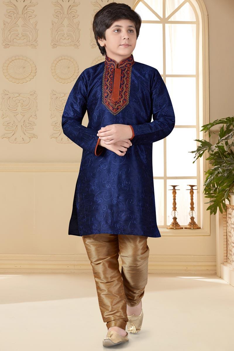 Sangeet Function Wear Art Silk Fabric Navy Blue Color Boys Kurta Pyjama Set