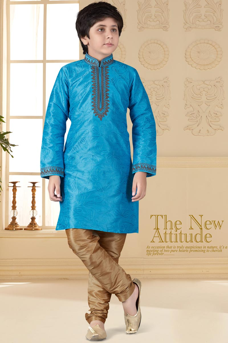 Sangeet Function Wear Sky Blue Color Art Silk Fabric Kurta Pyjama For Boys
