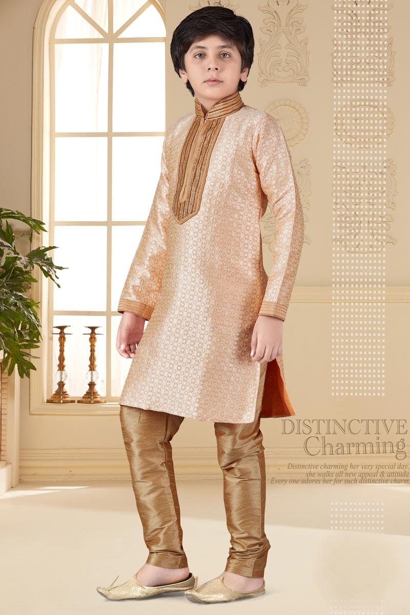 Sangeet Function Wear Kurta Pyjama For Boys In Jacquard Fabric Peach Color