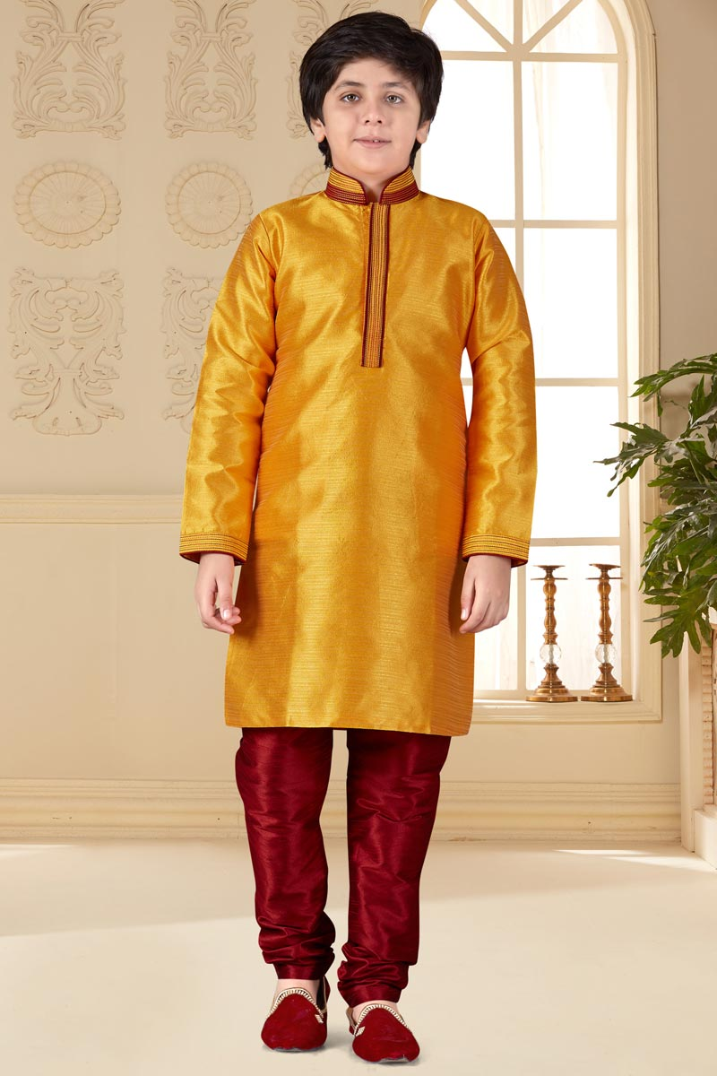Eid Special Occasion Wear Art Silk Fabric Kurta Pyjama For Boys In Orange Color