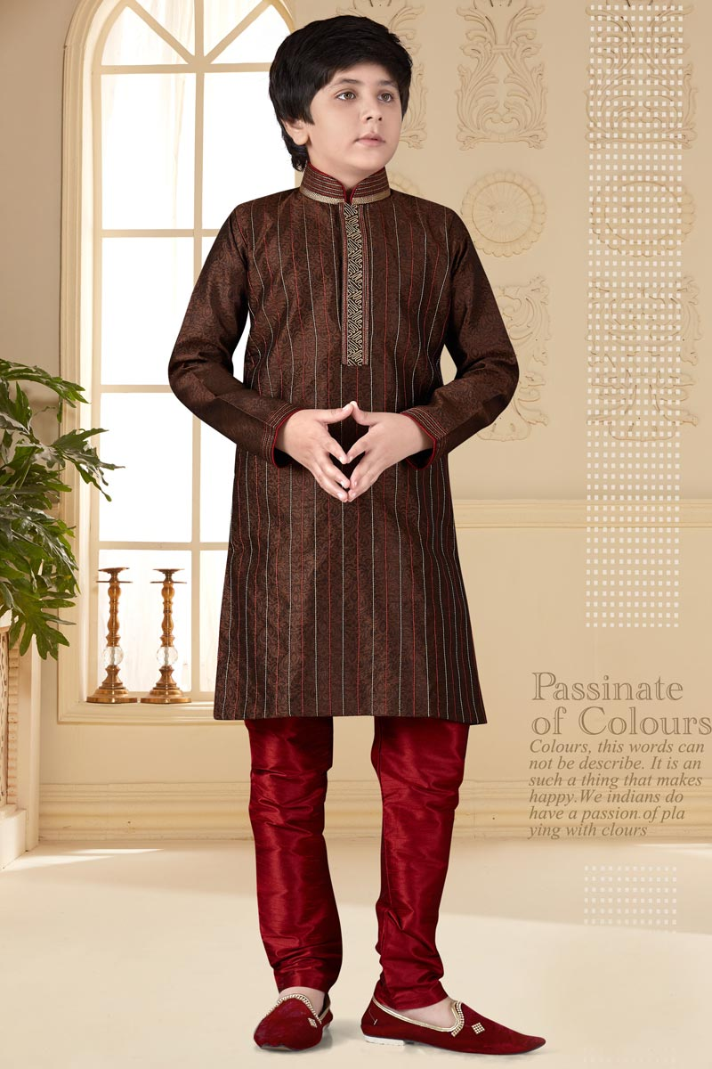 Brown Color Occasion Wear Jacquard Fabric Kurta Pyjama Set For Boys
