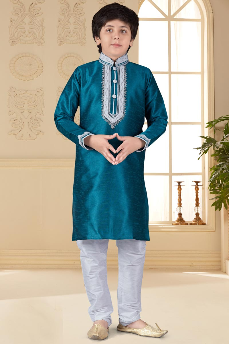 Occasion Wear Art Silk Fabric Teal Color Kurta Pyjama For Boys