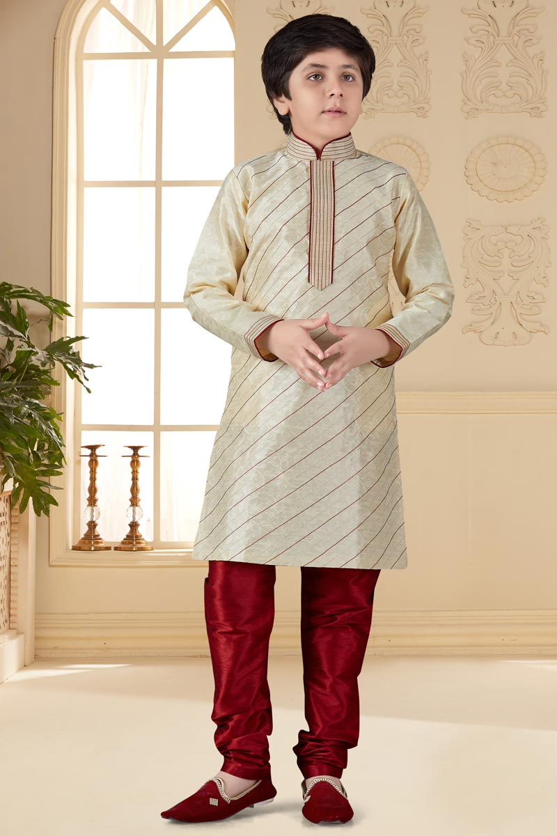 Eid Special Jacquard Fabric Beige Color Occasion Wear Boys Kurta Pyjama Set