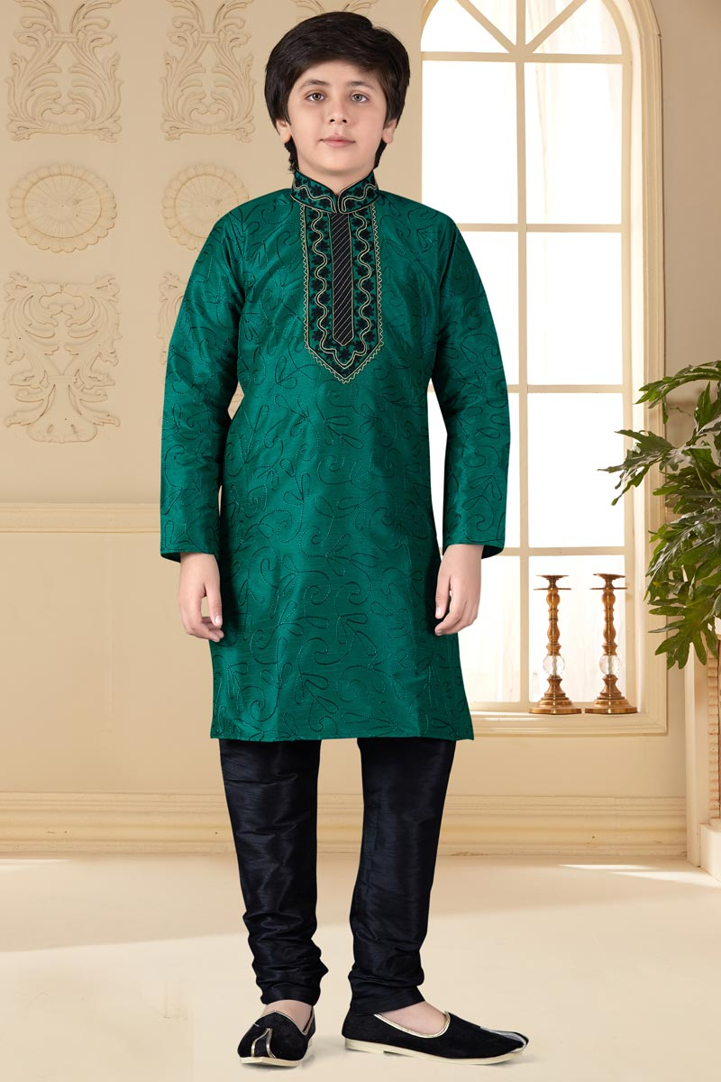 Occasion Wear Dark Green Color Art Silk Fabric Boys Kurta Pyjama Set