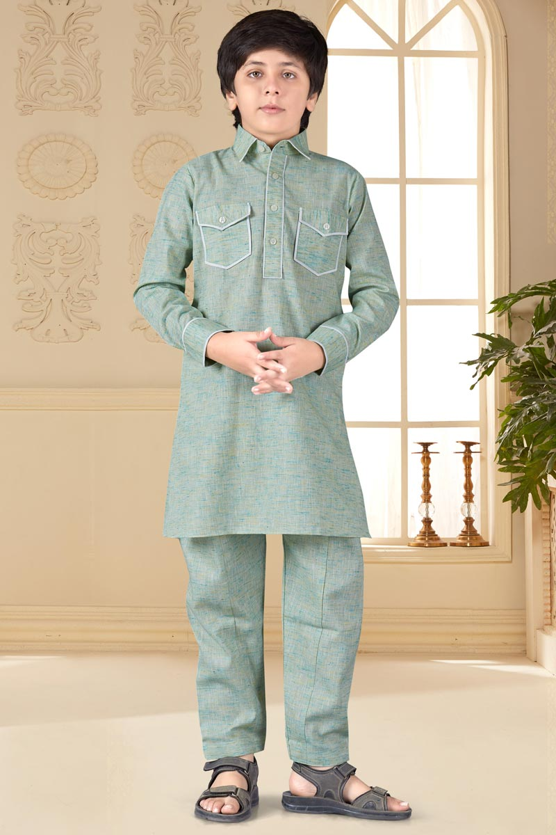 Traditional Wear Cotton Silk Fabric Pathani Suit For Boys In Light Cyan Color