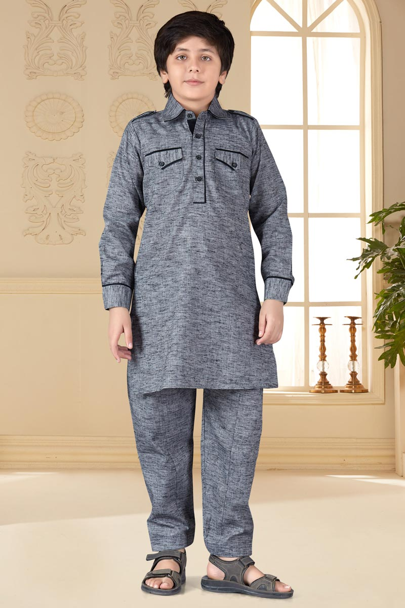 Cotton Silk Fabric Grey Color Traditional Wear Boys Pathani Suit