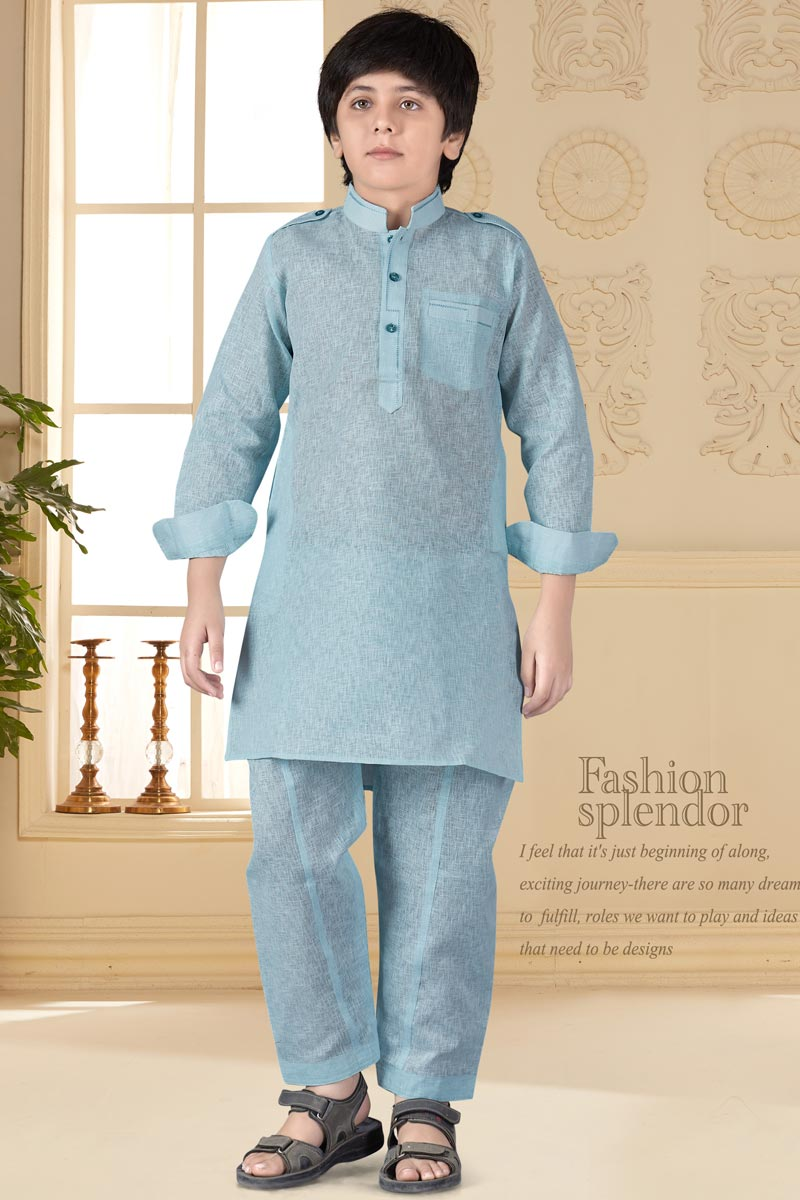 Eid Special Traditional Wear Cotton Silk Fabric Sky Blue Color Pathani Suit For Boys